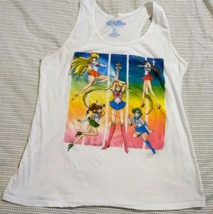 Sailor Moon group white graphic racerback tank top
